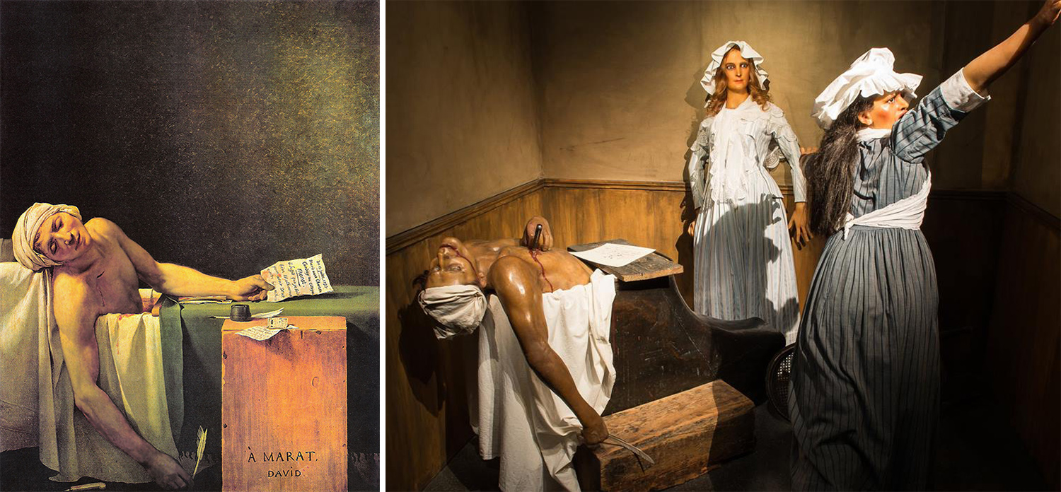 On the left, The Death of Marat - Jacques Louis David, 1793. On the right, Marat's assassination by Charlotte Corday at the Musée Grévin. The bathtub on the stage is the authentic, free-standing bathtub that belonged to Marat
